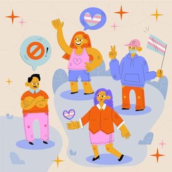 Płaska konstrukcja ilustracja koncepcja zatrzymania transfobii
