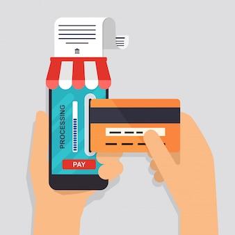 Płaska konstrukcja ilustracja koncepcje metod płatności online. bankowość internetowa, zakupy i transakcje online, elektroniczne przelewy środków i przelew bankowy.