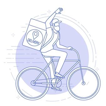 Płaska konstrukcja ilustracja kuriera rowerowego.