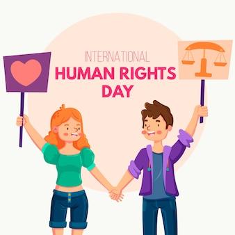 Płaska konstrukcja ilustracja międzynarodowy dzień praw człowieka