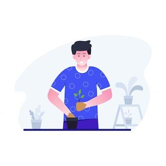 Płaska konstrukcja ilustracja ogrodnictwa