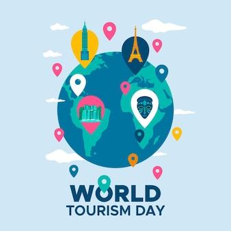 Płaska konstrukcja ilustracja światowego dnia turystyki