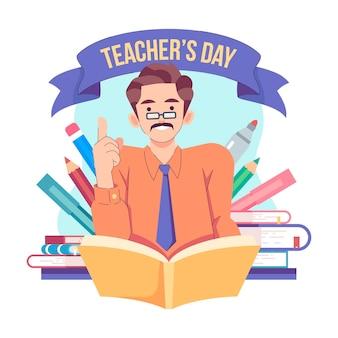Płaska konstrukcja ilustracja wydarzenia dnia nauczyciela