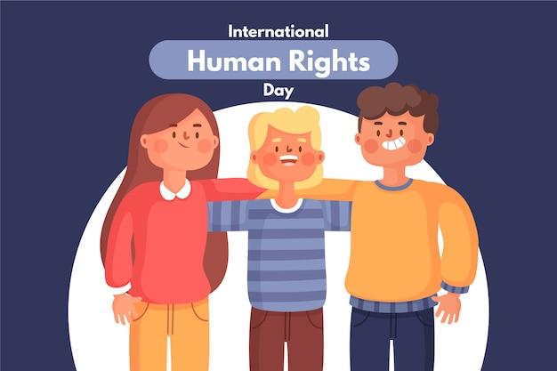 Płaska konstrukcja ilustracja wydarzenia międzynarodowego dnia praw człowieka
