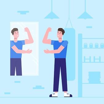Płaska konstrukcja ilustracja wysokiej samooceny z człowiekiem