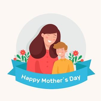 Płaska konstrukcja ilustracja z motywem dnia matki