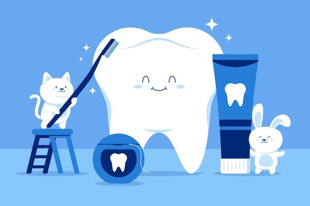 Płaska konstrukcja ilustracja zdrowie jamy ustnej