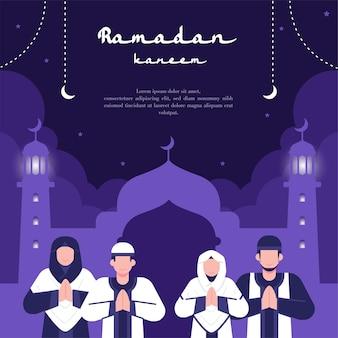 Płaska konstrukcja ilustracji dla szablonu ramadanu