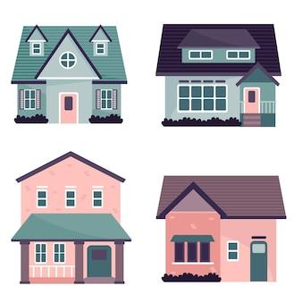 Płaska konstrukcja ilustracji domów zestaw
