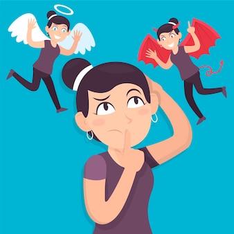 Płaska konstrukcja ilustracji dylemat etyczny z aniołem i diabłem