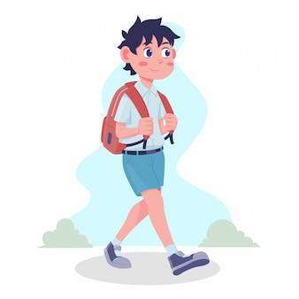 Płaska konstrukcja ilustracji dzieci chodzenia na powrót do szkoły