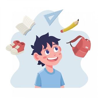 Płaska konstrukcja ilustracji dzieci wyobrażających sobie przybory szkolne na powrót do szkoły