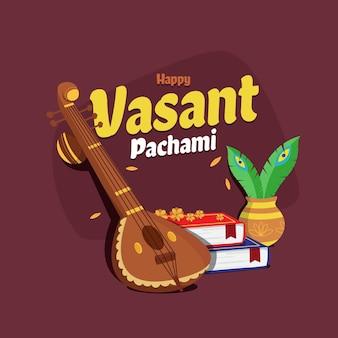 Płaska konstrukcja ilustracji festiwalu vasant panchami