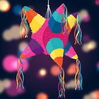 Płaska konstrukcja ilustracji posada piñata z efektem bokeh