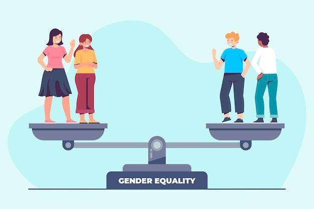 Płaska konstrukcja ilustracji równości płci z mężczyzną i kobietą