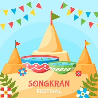 Płaska konstrukcja ilustracji songkran