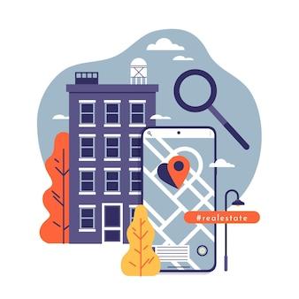 Płaska konstrukcja ilustracji wyszukiwania nieruchomości