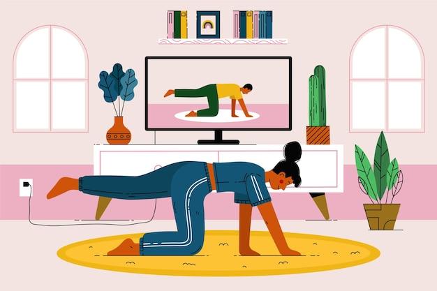Płaska konstrukcja ilustracji zajęć sportowych online