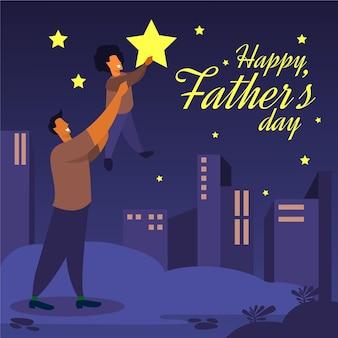Płaska konstrukcja ilustruje dzień ojca