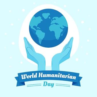 Płaska konstrukcja ilustruje światowy dzień humanitarny