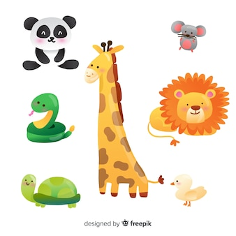 Płaska konstrukcja ilustruje zestaw uroczych zwierzątek