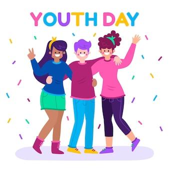 Płaska konstrukcja imprezy z okazji dnia młodzieży