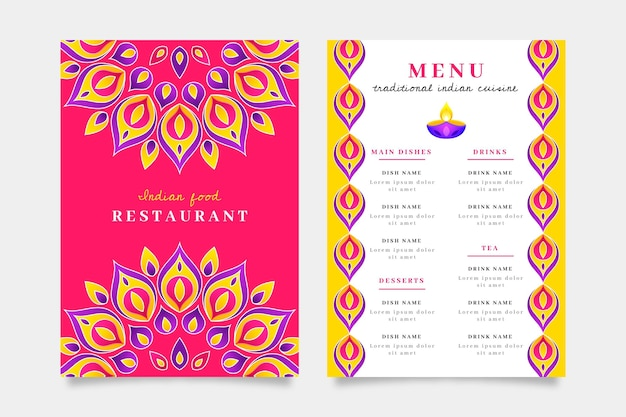 Płaska konstrukcja indyjskiego szablonu menu