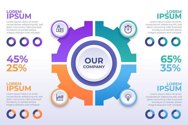 Płaska konstrukcja infografiki biznesowe gradientu