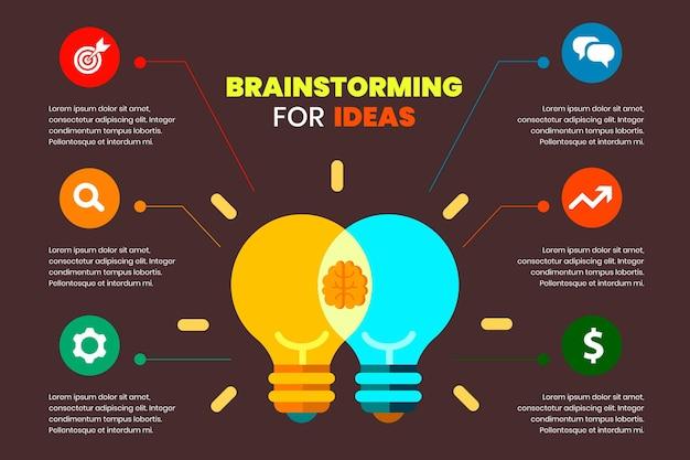 Płaska konstrukcja infografiki burzy mózgów