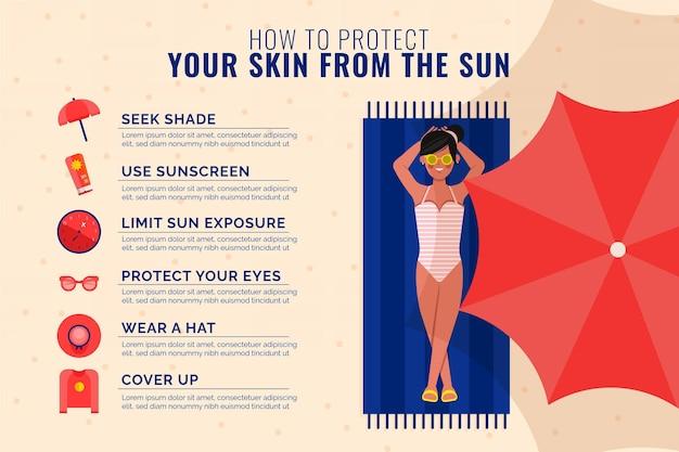 Płaska konstrukcja infografiki letniej ochrony przeciwsłonecznej