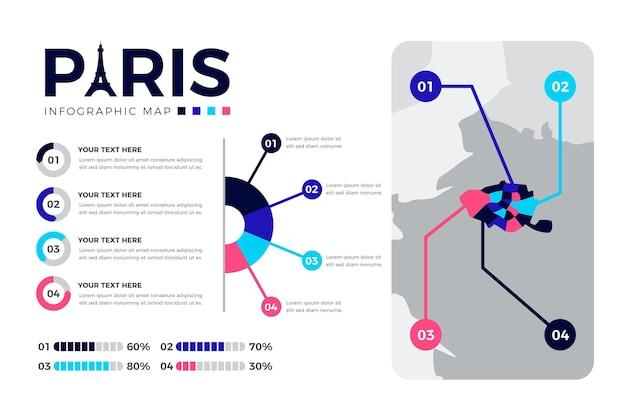 Płaska konstrukcja infografiki mapy paryża