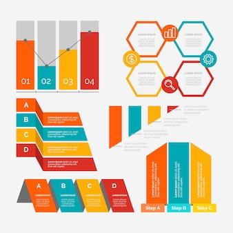 Płaska konstrukcja infographic elementy kolekcji szablonów