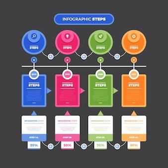 Płaska konstrukcja infographic kroki szablon