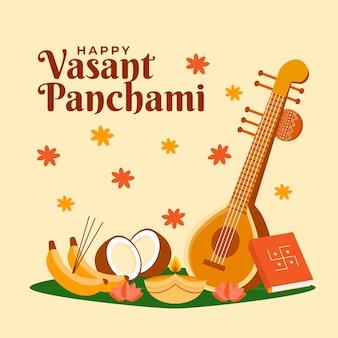Płaska konstrukcja instrumentu muzycznego vasant panchami