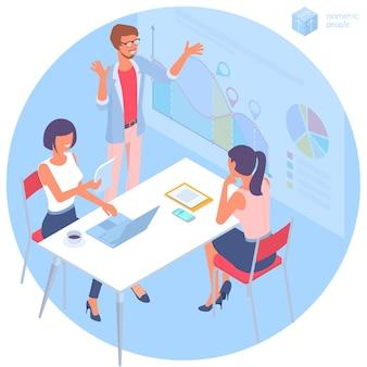 Płaska konstrukcja izometryczna komunikacja biznesowa młodego mężczyzny i kobiety w nowoczesnym biurze modna koncepcja kolorystyczna pracy zespołowej i przepływu pracy dla prezentacji strony internetowej i projektowania aplikacji