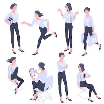 Płaska konstrukcja izometryczne młode kobiety postacie, zestaw gestów i działań. praca biurowa, nauka, spacery, bieganie, komunikacja, postacie ludzi stojących.