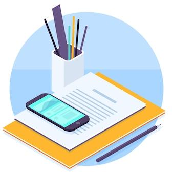 Płaska konstrukcja izometryczny biurowy obszar roboczy ikona koncepcja szablonu prezentacji biznesowych