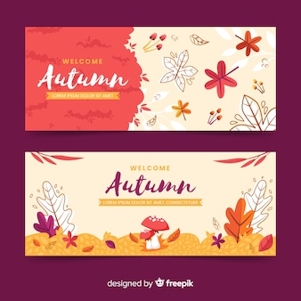 Płaska konstrukcja jesień banery szablon