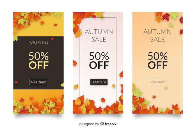 Płaska konstrukcja jesień sprzedaż banery kolekcja