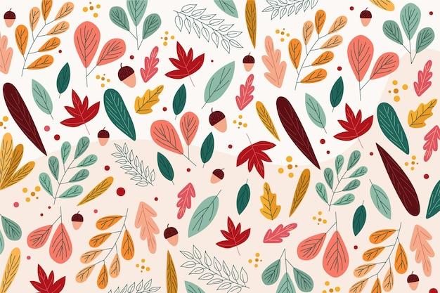 Płaska konstrukcja jesień tło z liśćmi