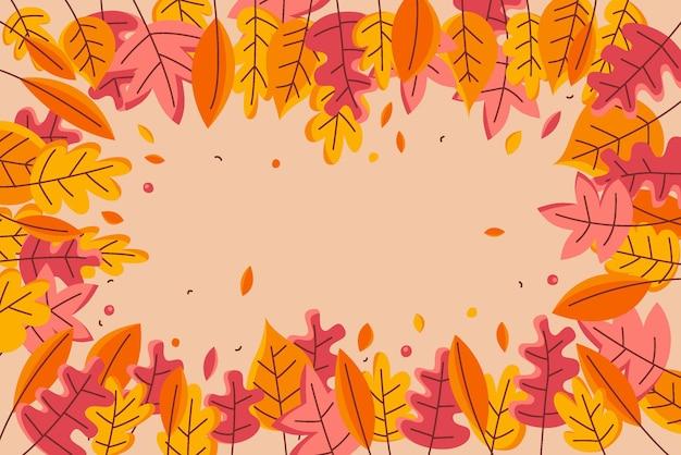 Płaska konstrukcja jesienne liście tło
