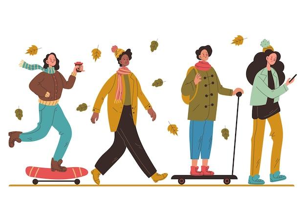 Płaska konstrukcja jesiennych ludzi w płaszczach