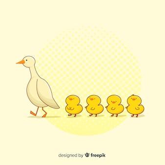 Płaska konstrukcja kaczka i kaczych matek