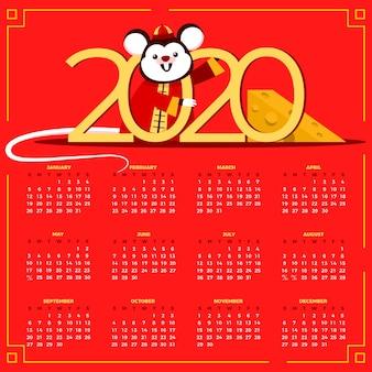 Płaska konstrukcja kalendarza chiński nowy rok