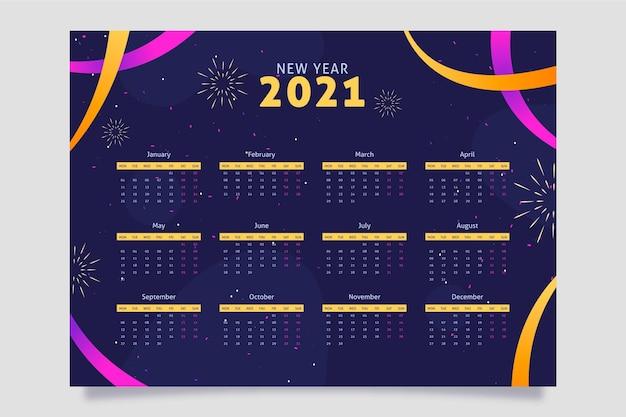 Płaska konstrukcja kalendarza nowego roku 2021
