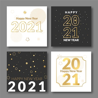 Płaska konstrukcja kart nowego roku 2021