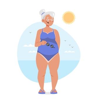 Płaska konstrukcja kobiety z ilustracją oparzenia słonecznego