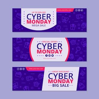 Płaska konstrukcja kolekcja cyber poniedziałki banery