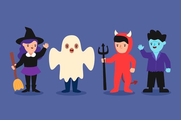 Płaska konstrukcja kolekcja dla dzieci halloween