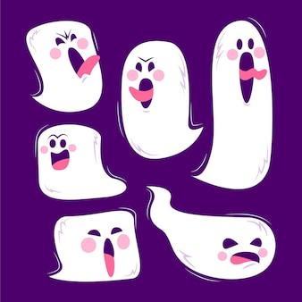 Płaska konstrukcja kolekcja duchów halloween